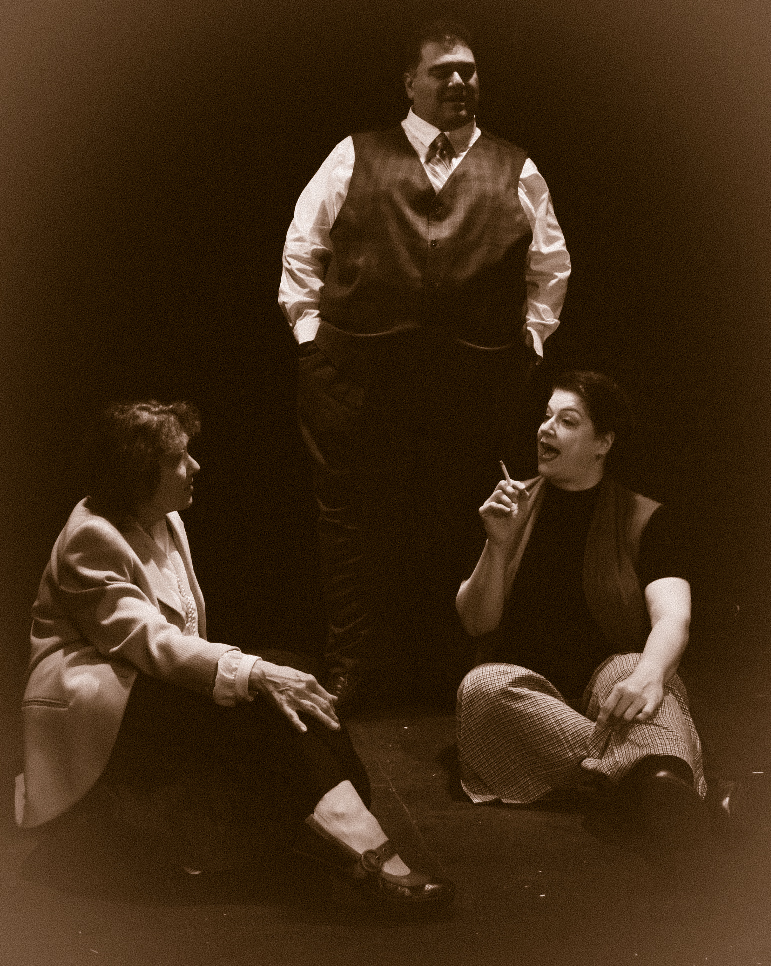 Becky Minard as Clarissa, Jeffrey Ouellette as Peter, and Lee Rush as Sally and Clarissa in MRS. DALLOWAY by Virginia Woolf, adapted by Hal Coase